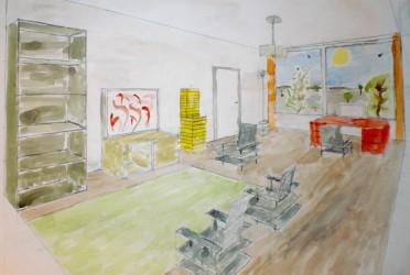 Aquarel concepttekening van een interieur