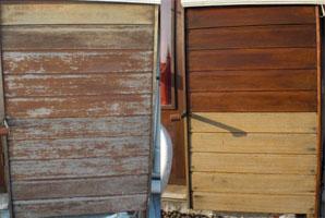 Houten panelen voor en na het schilderen