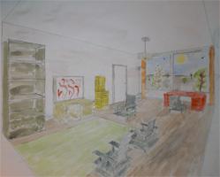Aquarel interieur tekening
